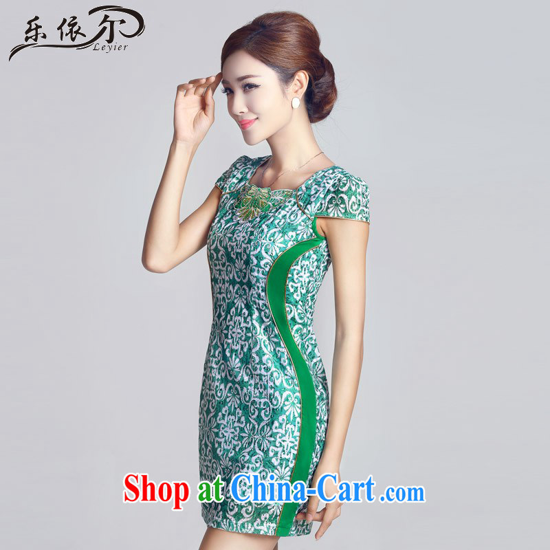 And, in accordance with antique embroidery girls dresses short daily lady cheongsam dress green retro LYE 66,603 green XXL