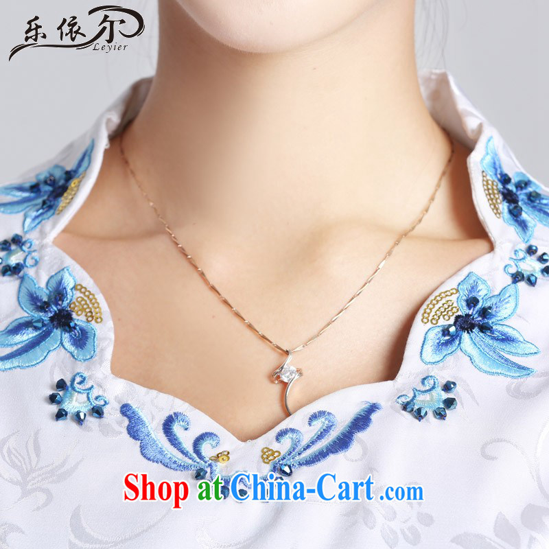 And, in accordance with classical stamp lady dresses retro embroidery flowers daily cultivating short cheongsam improved Party Ends LYE 66,629 white XL, in accordance with (leyier), shopping on the Internet