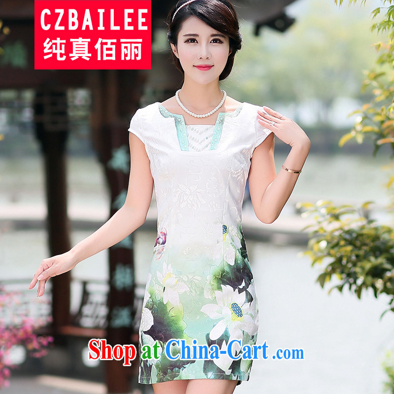 Jin Bai Lai-improved cheongsam dress summer 2015 decorated in a video thin short-sleeved dresses retro style large, new Chinese green 4XL