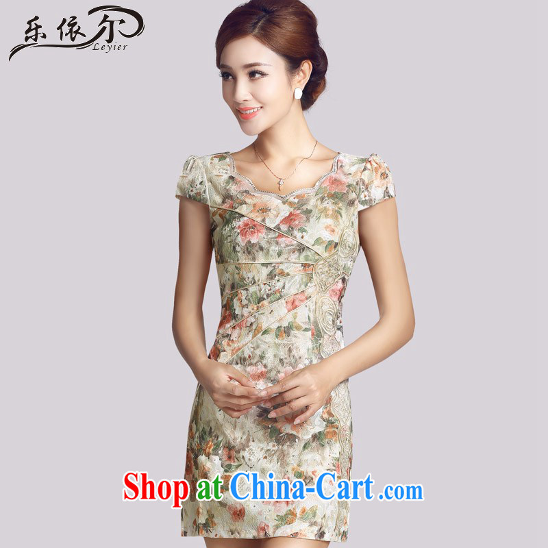 And, in accordance with improved retro lady cheongsam embroidery flowers Daily Beauty short cheongsam dress LYE 66,623 apricot XXL