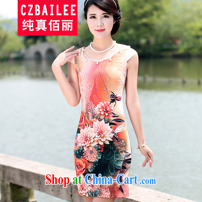 Jin Bai Lai dresses new cheongsam dress summer 2015 improved stamp graceful short-sleeved Chinese qipao Chinese Dress 4 XL