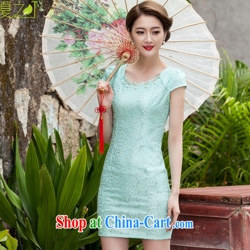 Mr Ronald ARCULLI's Foreign Minister Nobutaka Machimura new lace cheongsam Stylish slim body language empty hook flower dresses X 5073 Lake blue XL