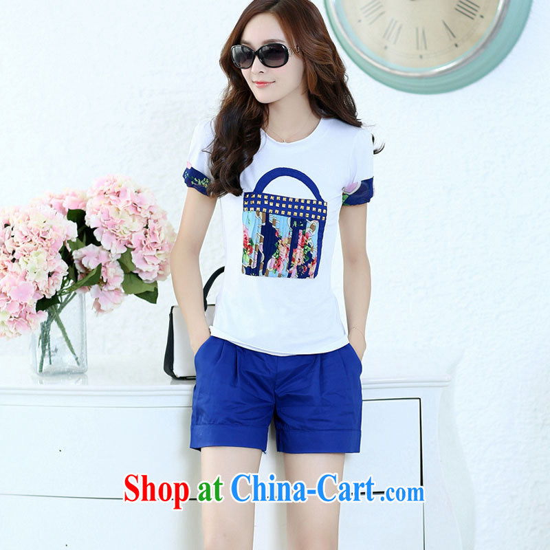 hamilton 2015 summer new female casual stylish cultivating short-sleeve T shirts shorts two piece kit blue spot XXL