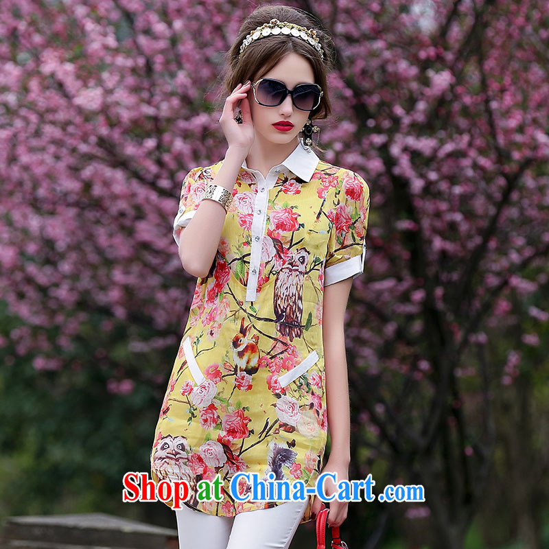The JA summer 2015 the new casual shirt skirt floral patterned flower geometric patterns sauna silk silk shirt QYY - 1539 yellow XXL