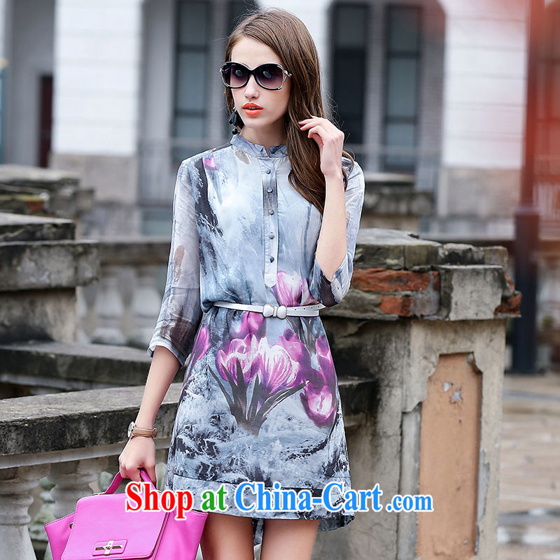 JA the 2015 summer on the new OL commuter small, for temperament ink stamp with belt sauna silk silk Chinese qipao QYY - 3527 light gray XXXL