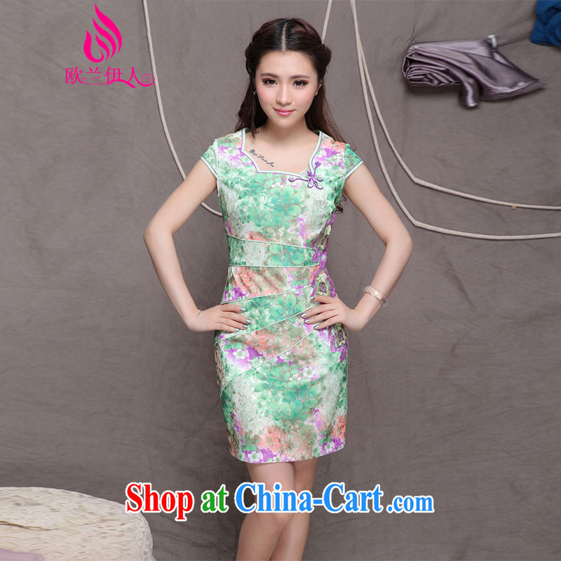 The evaluation of summer 2015 new blue cheongsam Chinese wind stylish ethnic wind and refined improved cheongsam 9905 green M