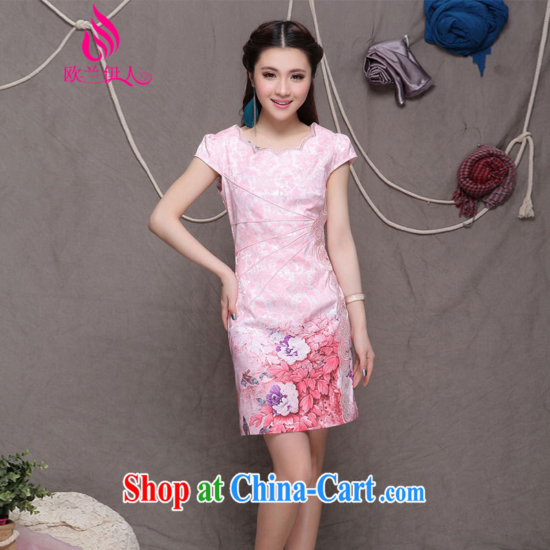 The evaluation of summer 2015 new cotton robes retro beauty video gaunt End Ethnic Wind and stylish Chinese qipao 9902 pink XXL