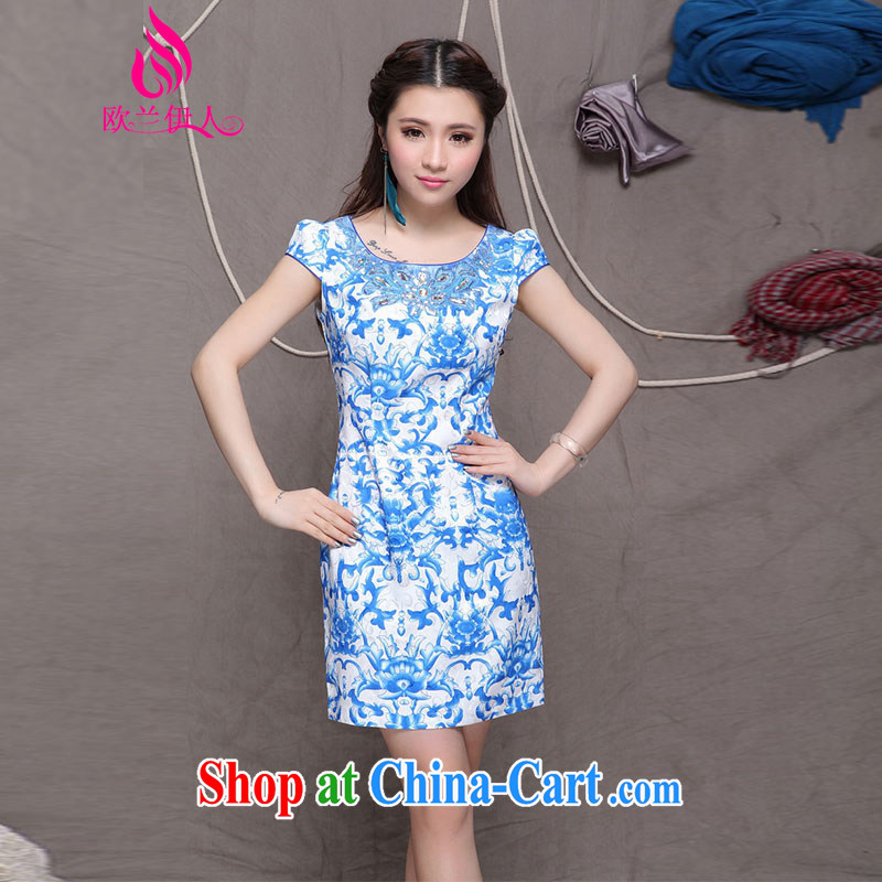 The evaluation of 2015 summer new Ethnic Wind and stylish Chinese blue cheongsam dress retro beauty graphics thin cheongsam 9901 blue and white porcelain XXL
