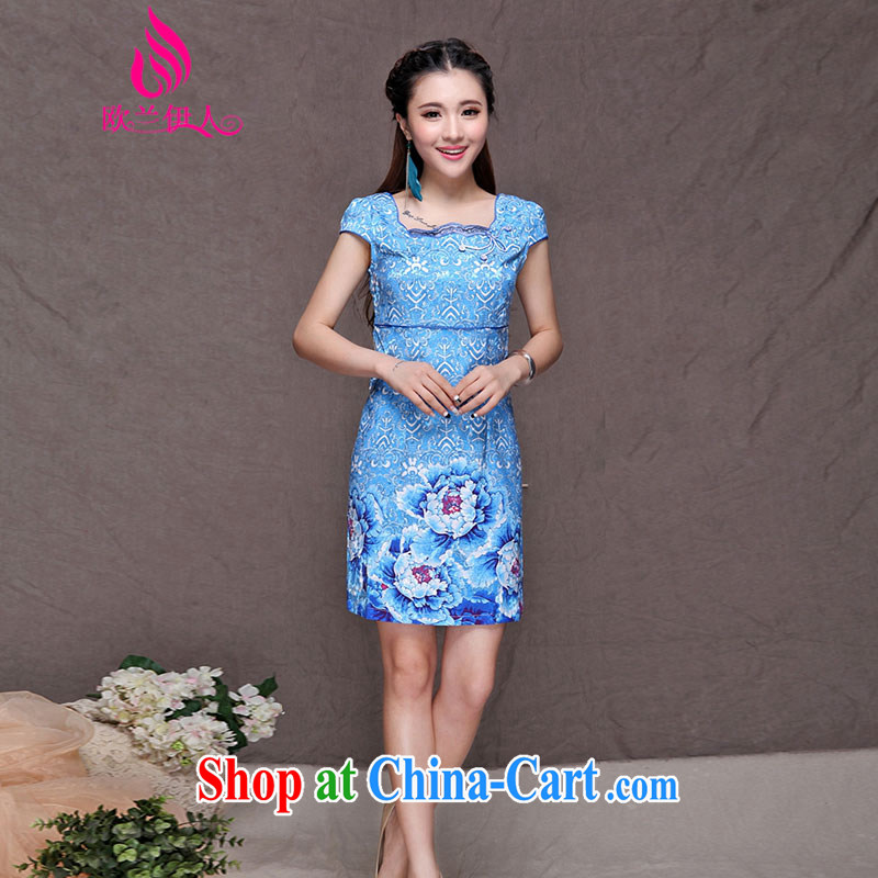 The evaluation of summer 2015 New royal blue robes Ethnic Wind and Stylish retro-beauty video build 9913 cheongsam picture color XXL