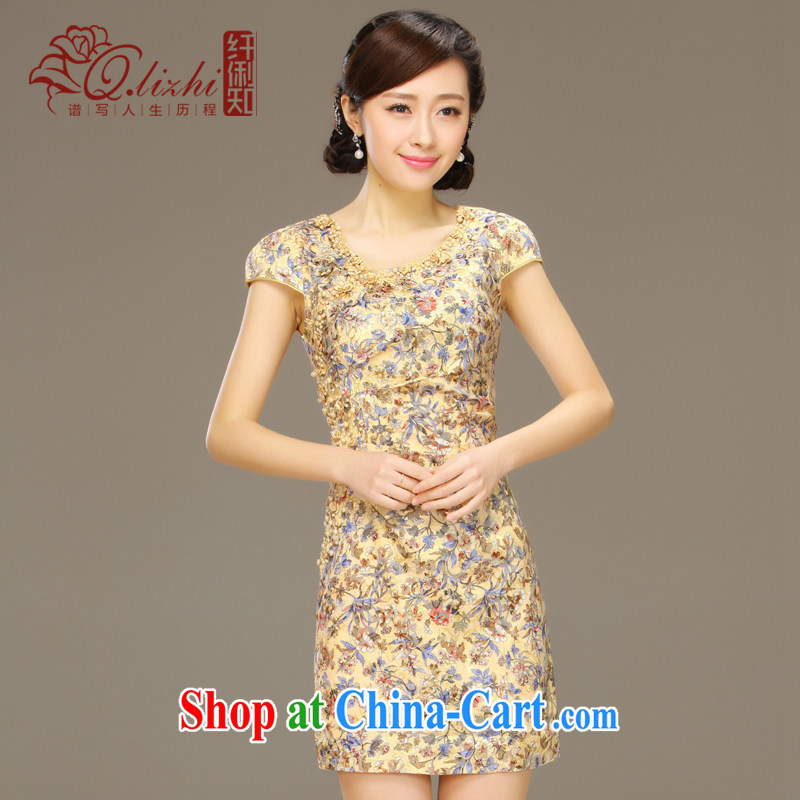 Slim li know 鐜�. China wind stamp cheongsam dress 2015 summer new retro cheongsam dress QLZ Q 15 6033 鐜� XXL.