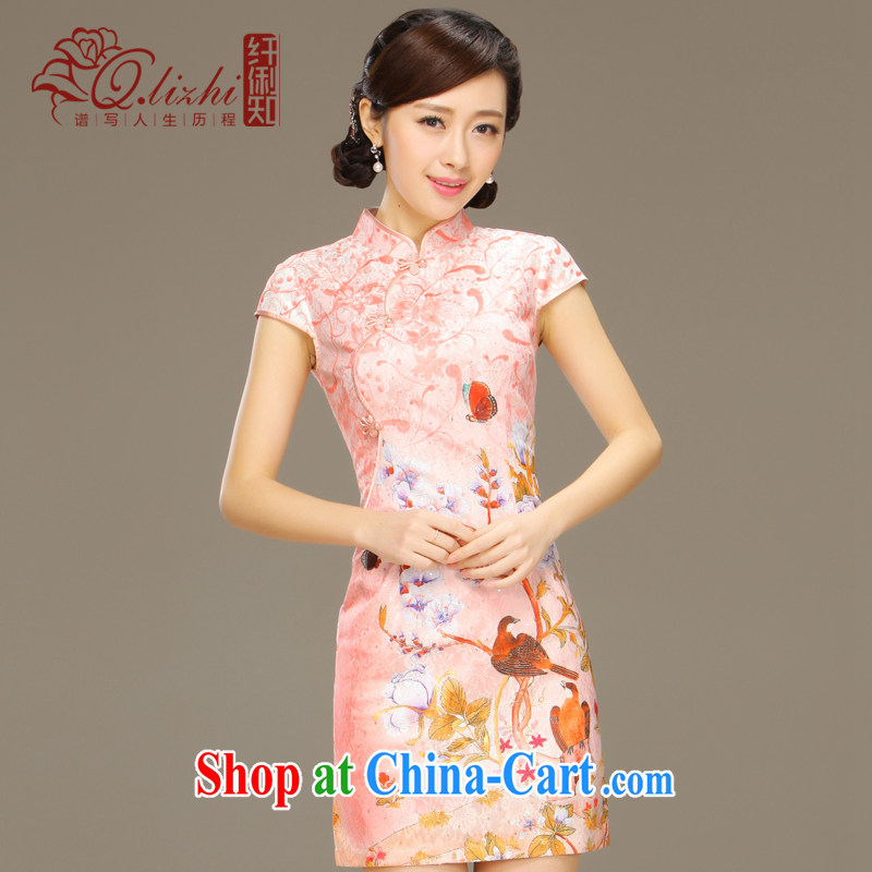 Slim li know of sticky notes stamp lace cheongsam dress summer short beauty and stylish retro package and dresses female QLZ Q 15 6034 pixel pad XXL