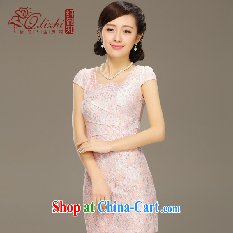 Slim LI knows the shadow cheongsam dress new summer fashion improved short daily retro beauty lace dress QLZ Q 15 6035 pink XXL