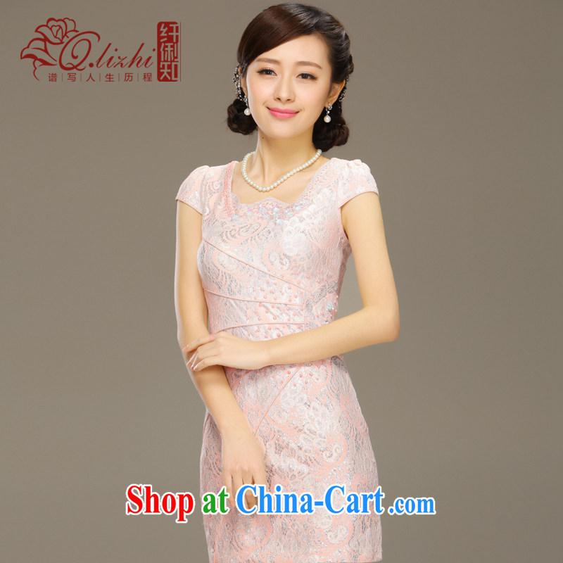Slim LI knows the shadow cheongsam dress new summer fashion improved short daily retro beauty lace dress QLZ Q 15 6035 pink XXL