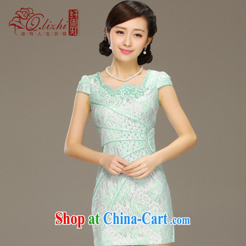 Slim LI knows the shadow cheongsam dress new summer fashion improved short daily retro beauty lace dress QLZ Q 15 6035 pink XXL, slim Li (Q . LIZHI), online shopping