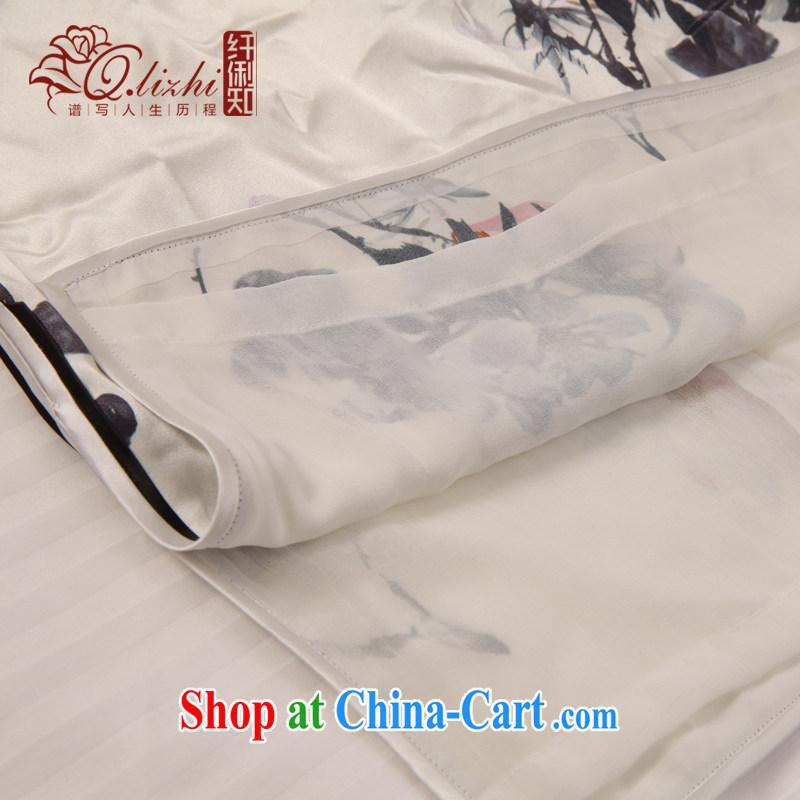 Slim LI knows the dyeing silk short cheongsam dress new summer retro daily improved dress Cultivating Female sauna silk QLZ Q 15 6036 white XXL, slim Li (Q . LIZHI), online shopping