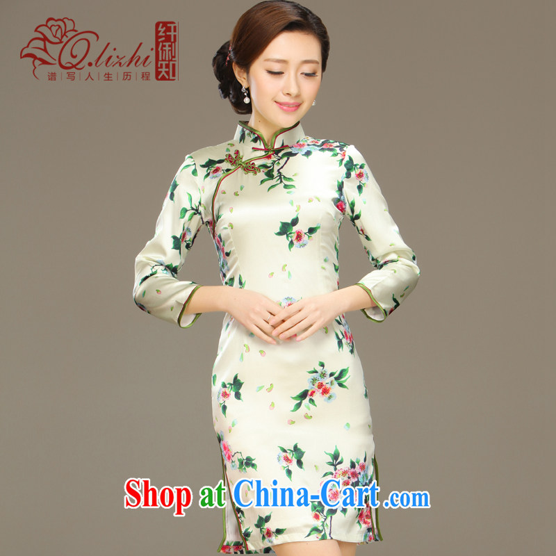 Slim li know mercy acajou _summer 2015 new stylish and improved cultivation cheongsam dress retro long Silk Cheongsam QLZ Q 15 6037 green聽XXL