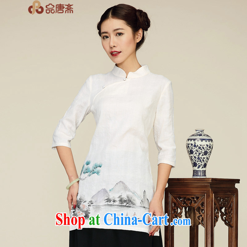 MR HENRY TANG _Id al-Fitr 2015, Chinese clothing, long, Retro spring new paragraph 5 cuff improved Han-T-shirt dresses apricot XL