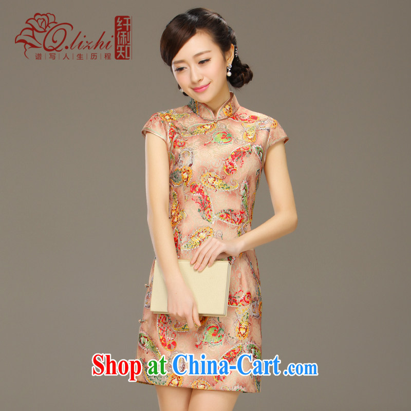 Slim LI knows his day off cheongsam dress improved stylish summer 2015 new lace dress cheongsam beauty QLZ Q 15 6039 picture color XXL