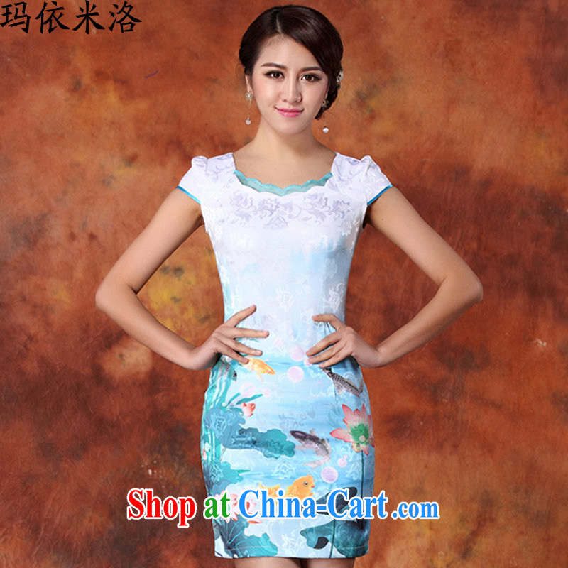 According to her, 2015 summer new women with stylish quality jacquard cotton robes short-sleeved beauty and elegant package arm skirt dresses blue XXL