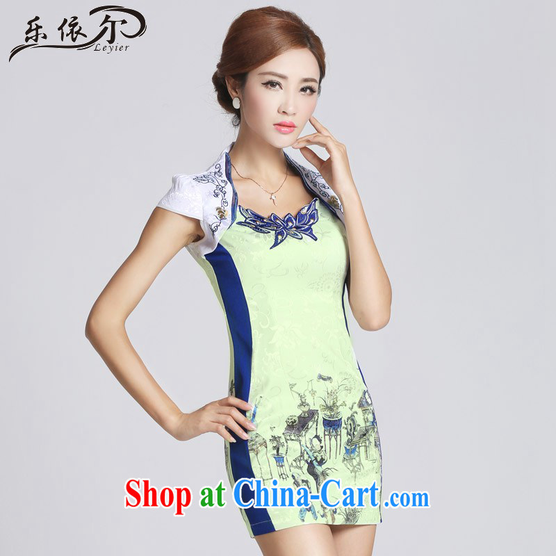 And, in accordance with cheongsam dress improved retro stamp qipao qipao the collar short, short-sleeved LYE 66,601 white XXL