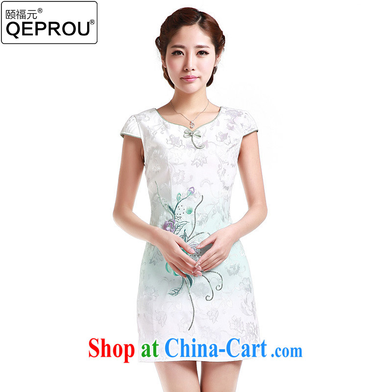 We fu yuan QEPROU summer improved cheongsam dress retro beauty dress embroidered dress everyday stylish skirt short-sleeve lady elegant graphics thin green XXL