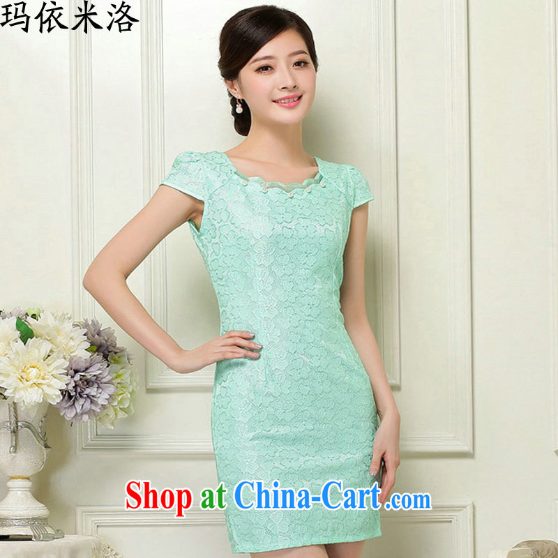 According to her, 2015 summer new female Korean-lace beauty dresses and stylish with a waist graphics thin further dresses green XL