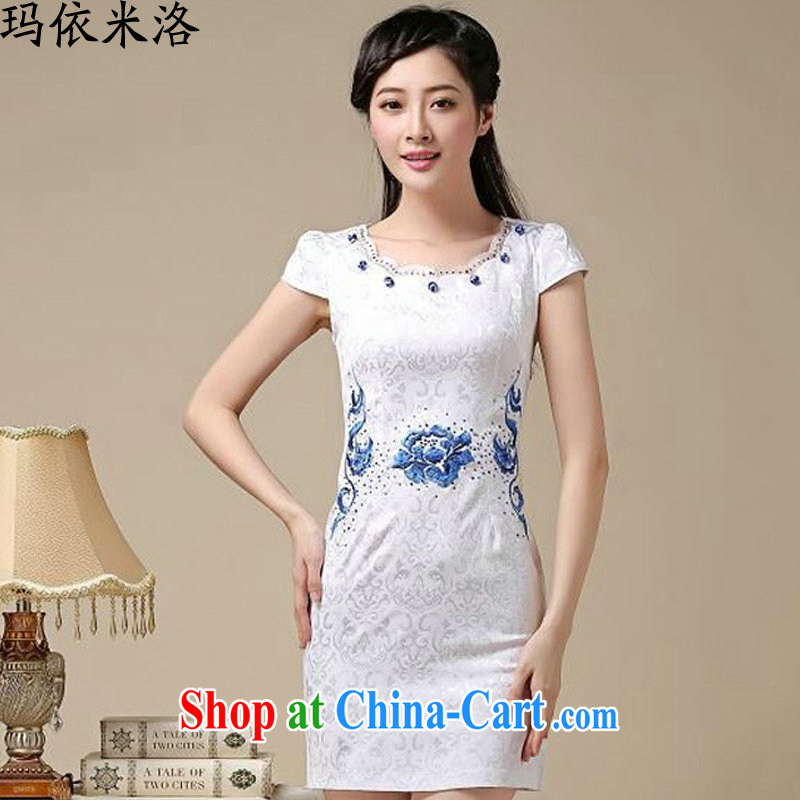 According to her, 2015 summer new female Ethnic Wind Peony embroidery girls dresses skirt short-sleeved dresses Blue on white flower XXL