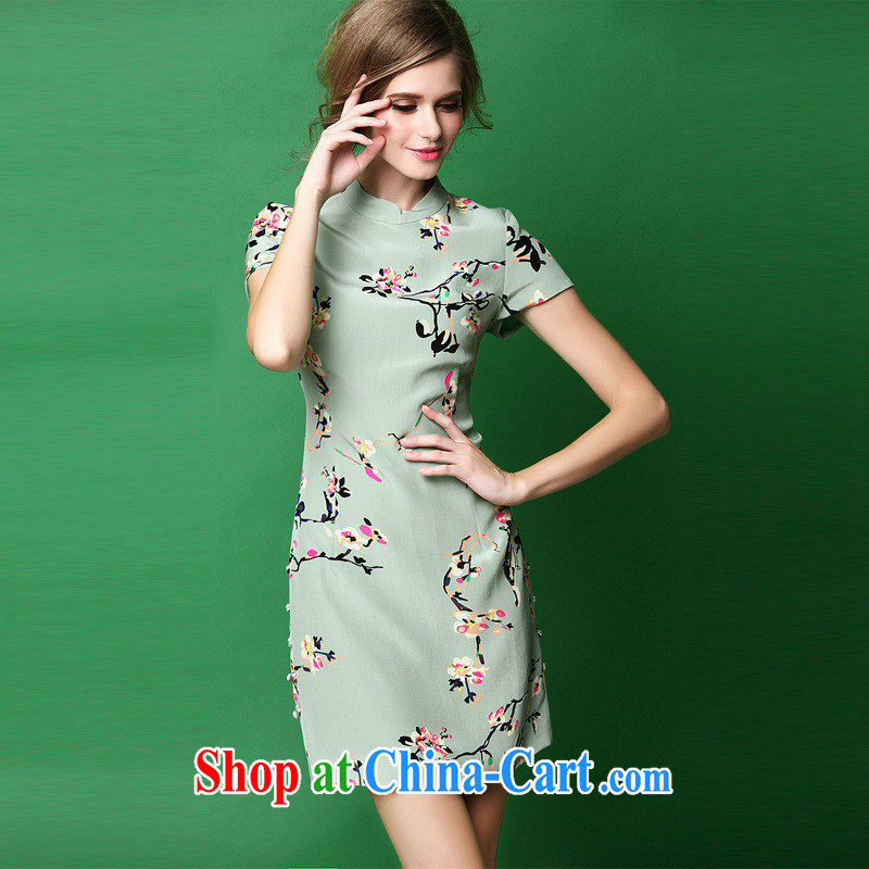 The summer 2015 new female retro China wind stamp Silk Cheongsam BEAUTY package and improved cheongsam green XL