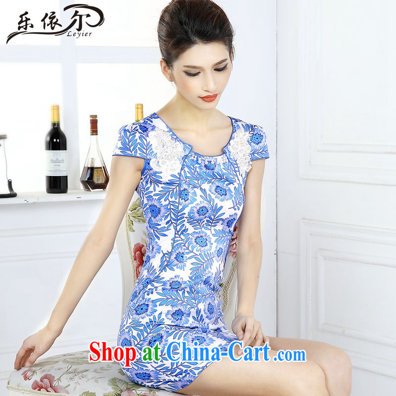 And, in accordance with blue and white porcelain classic cheongsam dress girls dresses new short-sleeved improved lady the Pearl LYE 66,617 blue and white porcelain XXL
