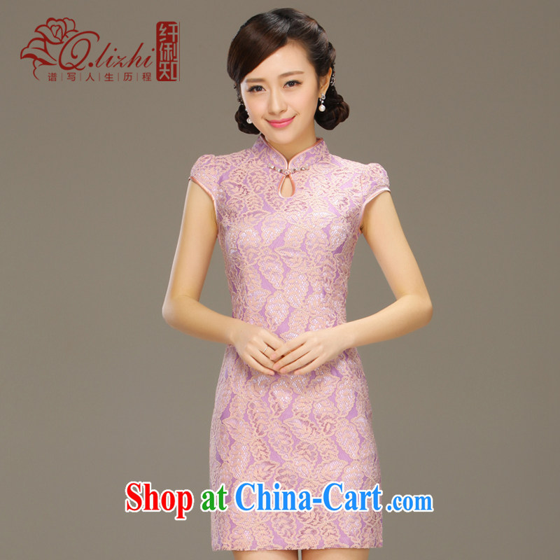 Slim li know that light summer 2015 new stylish dresses girls retro lace short sleeve beauty package and cheongsam dress Q; Z Q 15 6042 light purple M