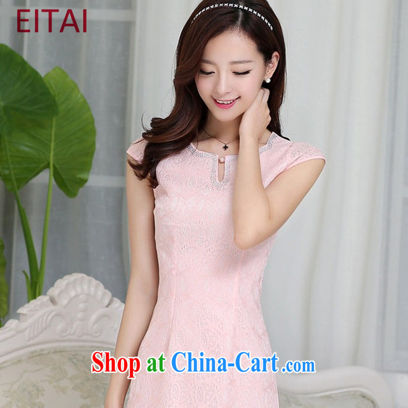 EITAI 2015 new stylish women summer Korean Beauty graphics thin style lace short sleeve dresses package and robes further dress pink 2 XL
