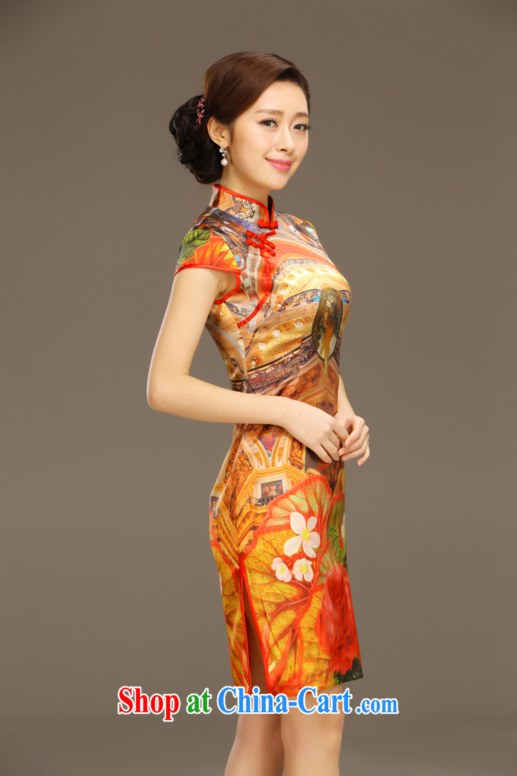Slim li know Ethnic Wind Garden Summer New Beauty retro elegant stamp outfit Silk Dresses female QLZ Q 15 6043 orange XXL pictures, price, brand platters! Elections are good character, the national distribution, so why buy now enjoy more preferential! Health