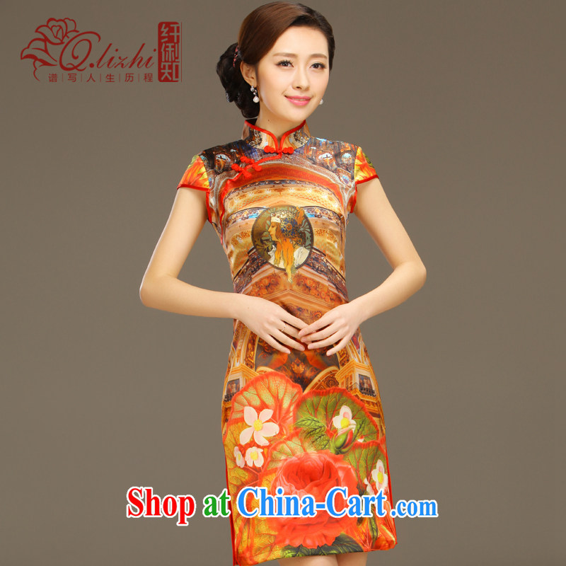 Slim li know Ethnic Wind Garden Summer New Beauty retro elegant stamp outfit Silk Dresses female QLZ Q 15 6043 orange XXL