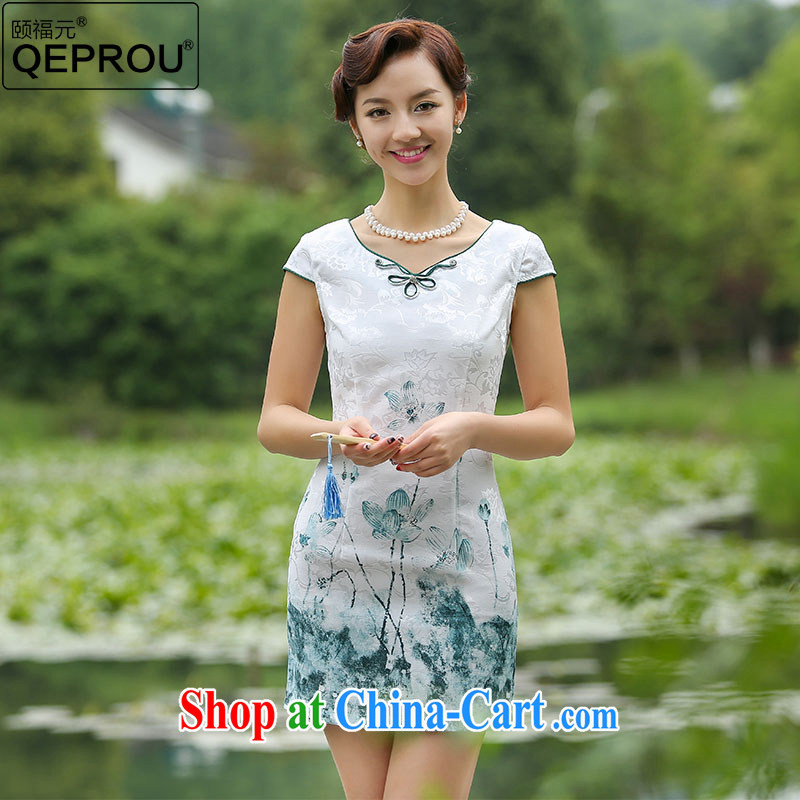 Our well-being QEPROU _2015 summer improved cheongsam stylish cultivating ethnic wind women's clothing everyday lady elegance dresses video thin green XXL