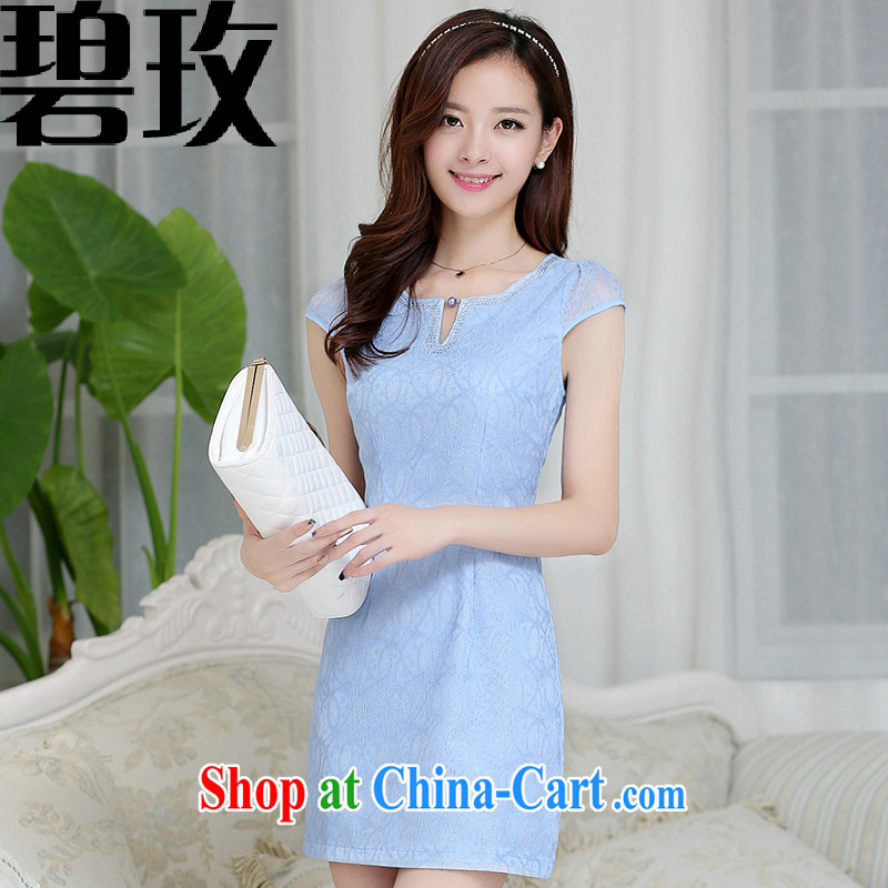 Under the 2015 summer new dress cheongsam dress summer dresses improved package and skirt dresses girls blue XXL