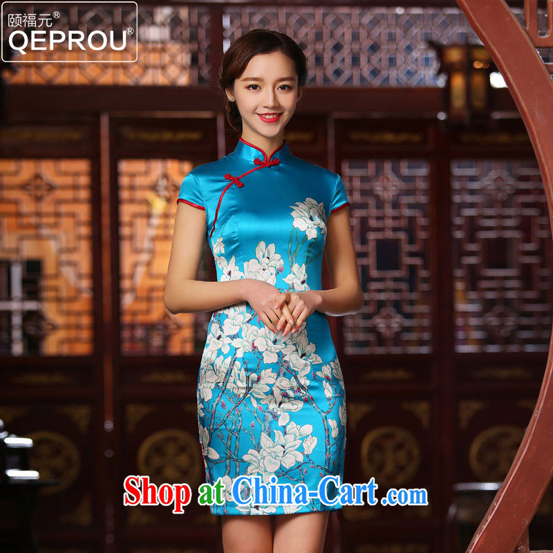 We fu yuan QEPROU 2015 New Silk Cheongsam heavy sauna silk Chinese qipao short-sleeved beauty antique dresses larger female blue XXXL