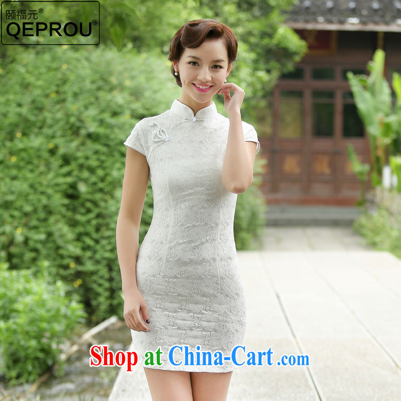 Our well-being QEPROU _2015 Mr Ronald ARCULLI, cultivating dresses lace cheongsam large code female daily fashion improved cheongsam short-sleeved white XXXL
