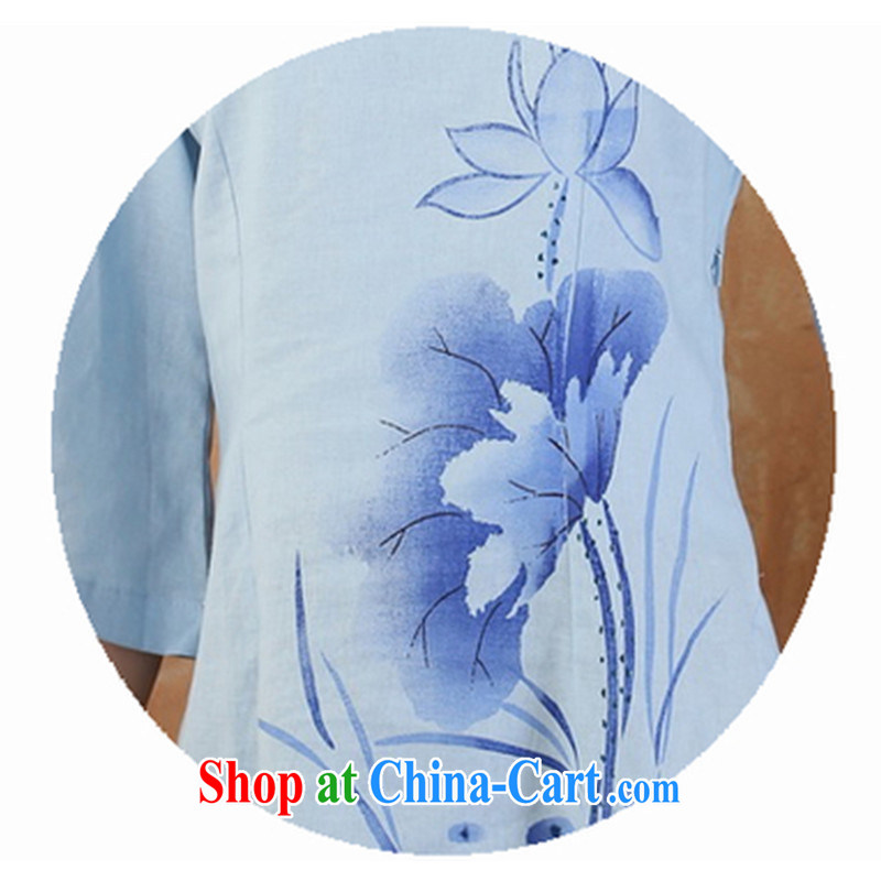 Mr Tang is female, served Chinese style cotton the female Chinese T-shirt spring/summer tea, serving tea service dresses T-shirt I should be grateful if the package XXXL/skirts m Gray