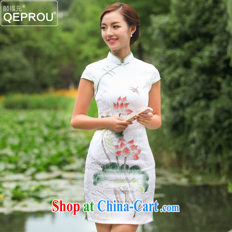 We fu yuan QEPROU new improved cheongsam dress summer 2015 beauty dresses daily fashion dress ethnic wind maximum code female short-sleeved green XXL