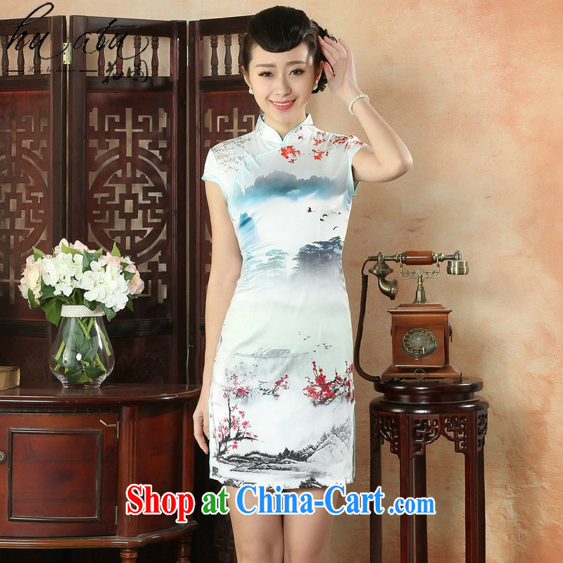 spend the summer wear cheongsam dress, collar Silk Cheongsam Chinese ink painting improved Chinese Dress daily short cheongsam as figure 3XL