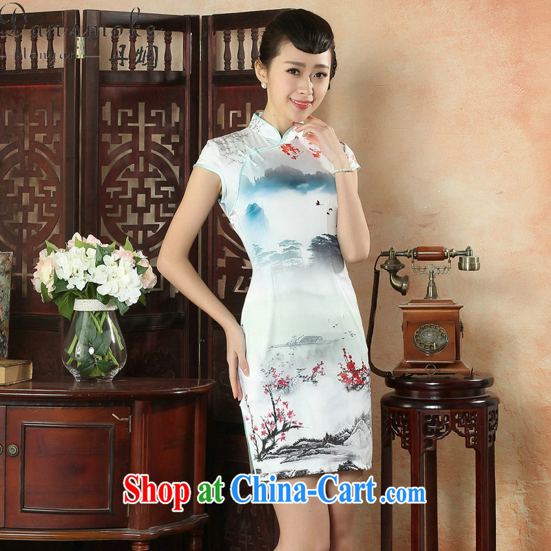 Bin Laden smoke-free summer cheongsam dress, collar Silk Cheongsam Chinese ink painting improved Chinese Dress daily short dresses such as the color 2 XL