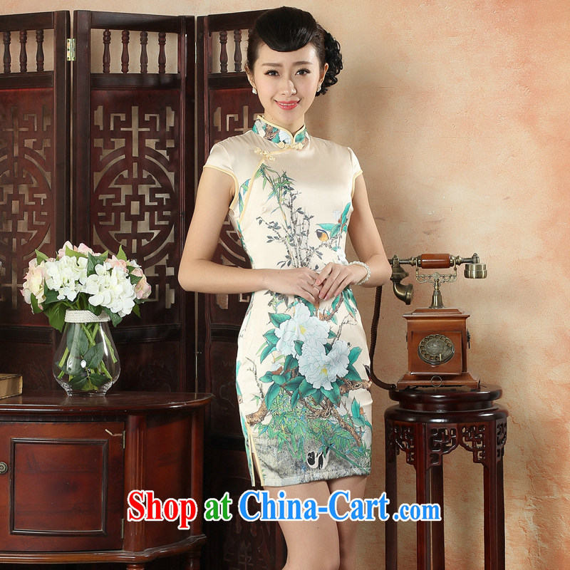 Bin Laden smoke cheongsam dress summer new silk flowers position improved cheongsam Chinese dresses daily short dresses 14 color 2 XL, Bin Laden smoke, shopping on the Internet