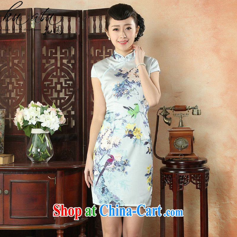Take the cheongsam dress summer new silk flowers position improved cheongsam Chinese dresses daily short dresses 13 color 2 XL