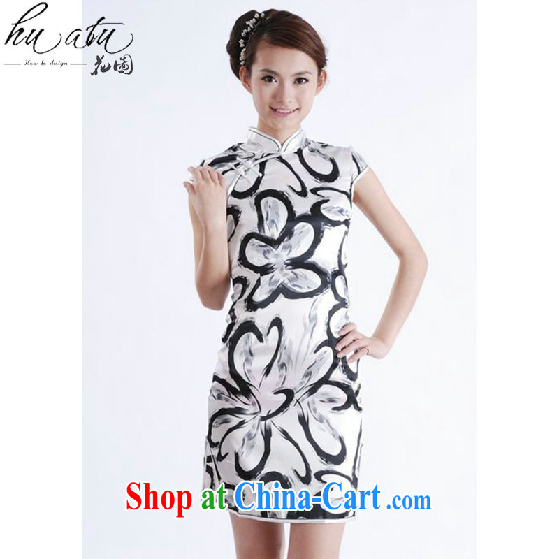 spend the summer new cheongsam dress Chinese improved, for Chinese cheongsam silk cultivation short cheongsam as shown color L