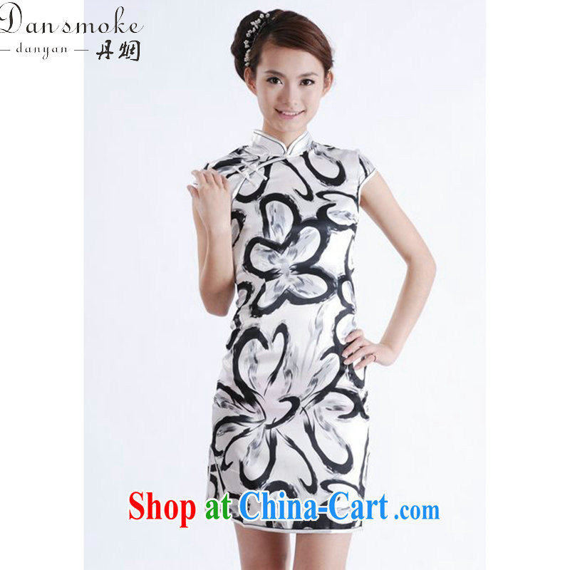 Bin Laden smoke summer new cheongsam dress Chinese improved, for Chinese cheongsam silk cultivation short cheongsam as color 2XL
