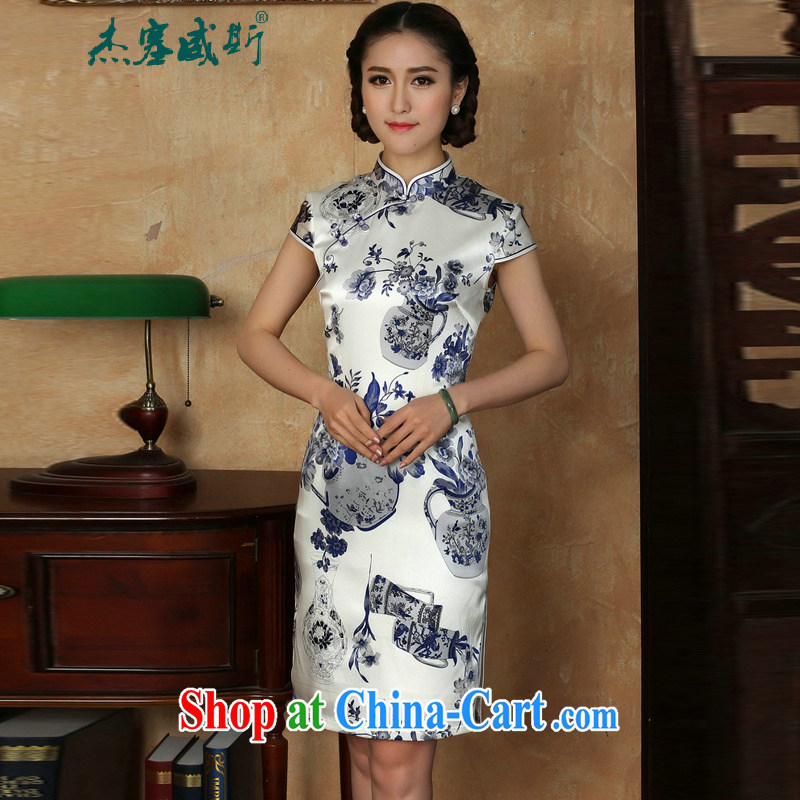 The Jessup, new female summer elegant, manually for the buckle blue and white porcelain short-sleeved Silk Dresses cheongsam blue and white porcelain XXXL