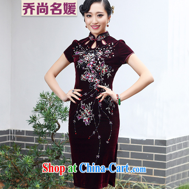 Joe is still a ritual my mother-in-law wedding dress gold velour cheongsam female Tang replace SRDZ 113 maroon short-sleeved 4 XL