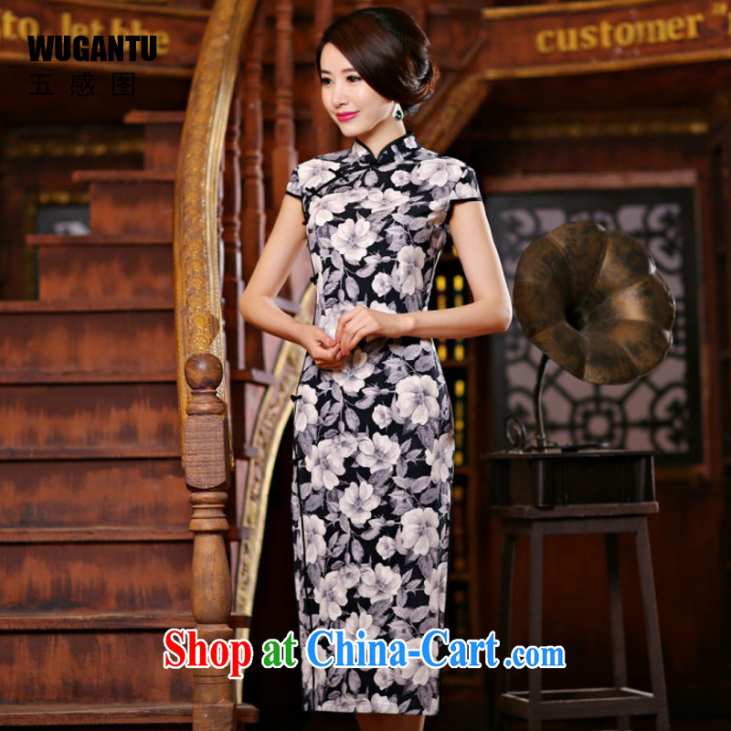 5 AND THE 2015 spring and summer, new dresses, stylish and refined sense of beauty long cheongsam dress WGT 237 black 1009 M