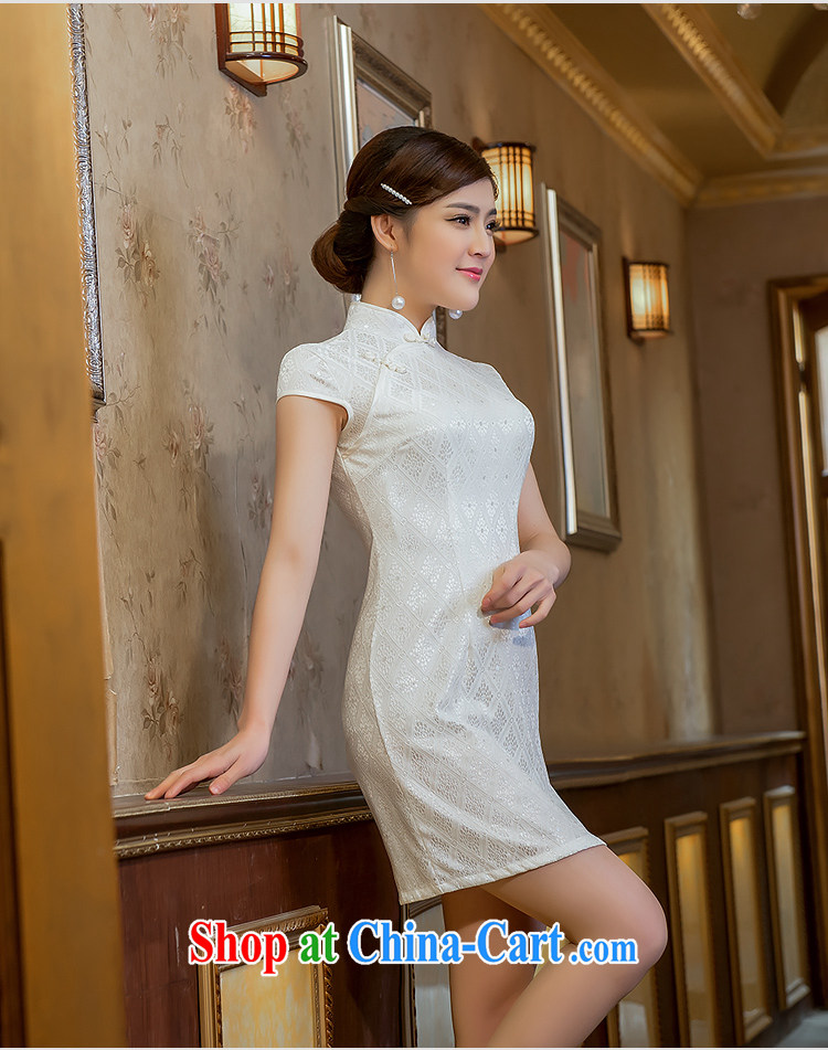Love spell Fort 2015 new summer retro dresses short daily improved, for cultivating cheongsam white XL (94 / 76/98, pictures, price, brand platters! Elections are good character, the national distribution, so why buy now enjoy more preferential! Health