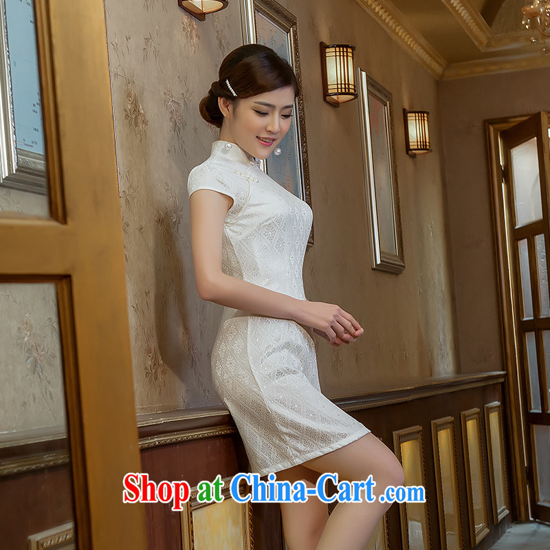 Love spell Fort 2015 new summer retro dresses short daily improved, for cultivating cheongsam white XL (94 / 76/98, love the Fort, shopping on the Internet